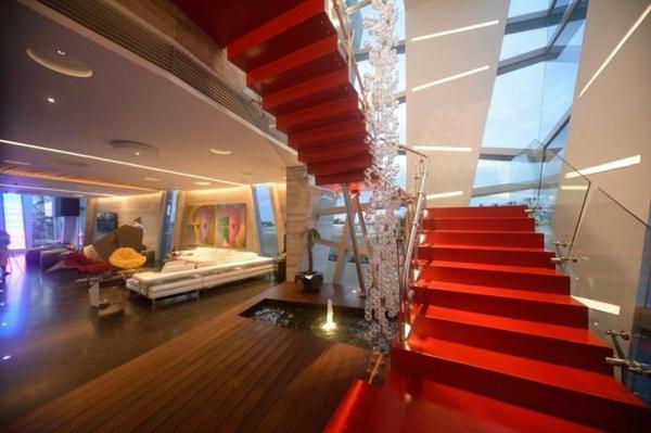 Avantgardistisches Haus Projekt treppe rot stufen glas geländer