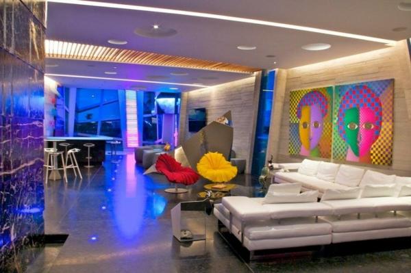 Avantgardistisches wohnprojekt wohnzimmer kunst gemälde