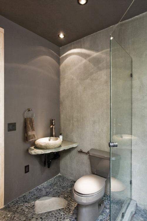 Marvelous Badezimmer Betongrau #14: Badezimmer-Designs-im-asiatischen-Stil-stein-beton-grau-
