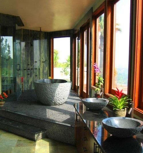 Badezimmer-Designs-im-asiatischen-Stil-stein-kalt-pflanzen