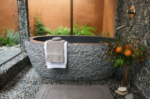 Badezimmer Designs im asiatischen Stil stein kalt wirkung badewanne
