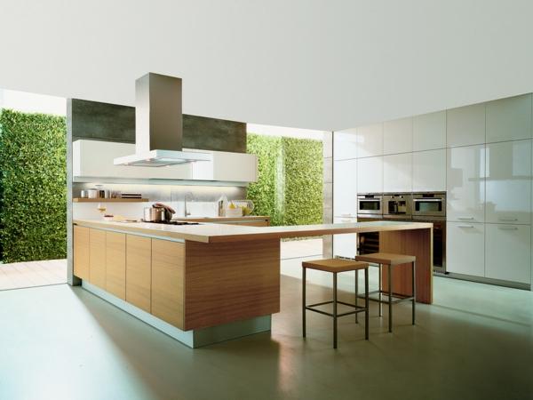 tageslicht grün natur umgebung küche deisgn arbeitsplatte