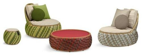 Coole Gartenmöbel für die Terrasse rattan rund sessel beistelltisch hocker