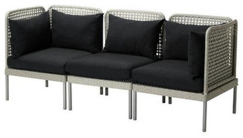 Coole Gartenmöbel für die Terrasse sitzbank schwarz auflagen bequem