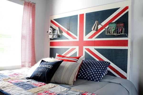 DIY dekorative Projekte englisch kopfteil flagge schlafzimmer