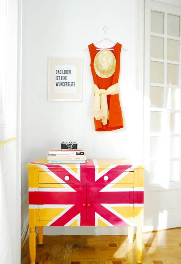 DIY dekorative Projekte kommode gelb rot englisch flagge