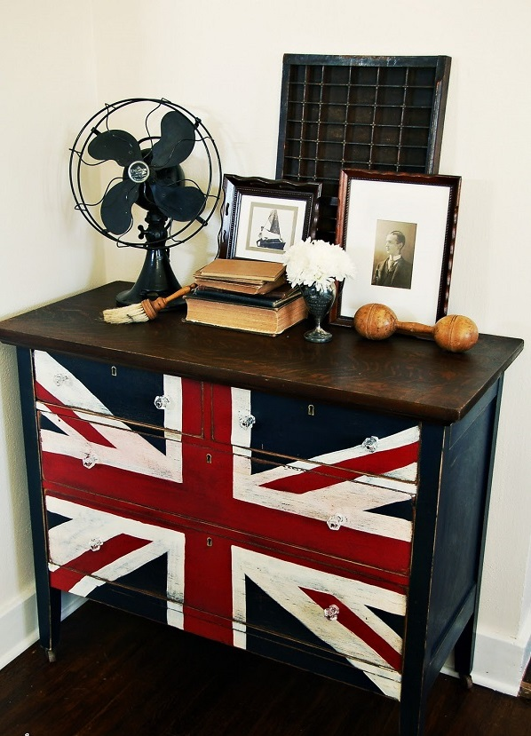 DIY dekorative Projektekommode oberfläche flagge fön klassisch