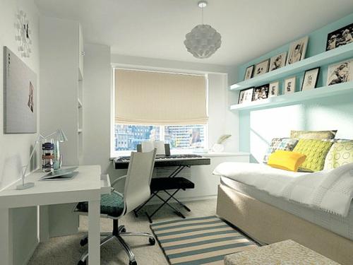 Deko Ideen fürs Gästezimmer bürotisch teppich gestreift blau weiß