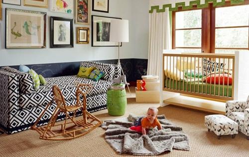 Deko Ideen fürs Gästezimmer babyzimmer rautenförmige muster schwarz weiß