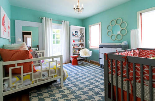 Deko Ideen fürs Gästezimmer babyzimmer teppich fenster