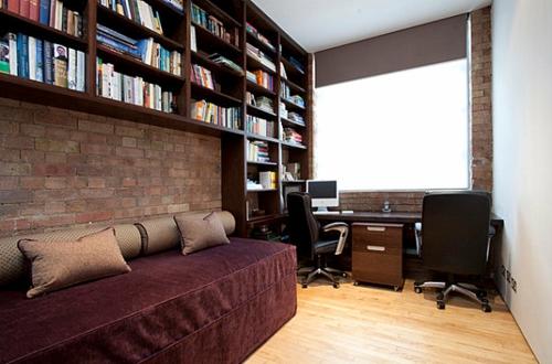 Deko Ideen fürs Gästezimmer home office regale ziegel wand