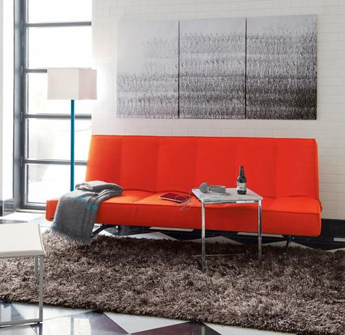 Deko Ideen Fürs Gästezimmer Rot Sofa Weich Teppich
