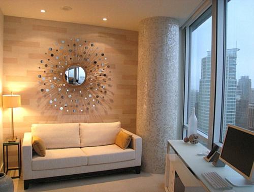 Deko Ideen fürs Gästezimmer wandspiegel rund sofa säule