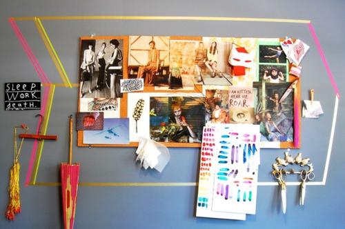 Dekoratives Klebeband wand gestaltung fotos bilder bunt