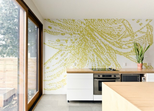 Dekoratives-Klebeband-wandgestaltung-muster-schiebetür-küche-design