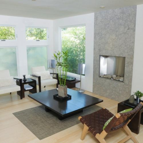 Der pflegeleichte Glücksbambus als Dekoration wohnzimmer tisch einbaukamin