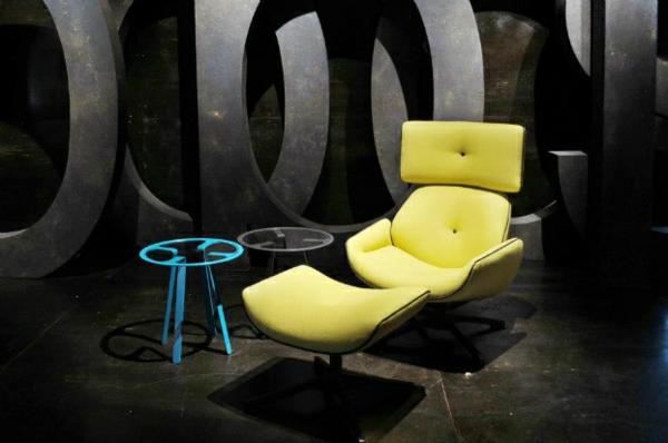 Designer Möbel Sammlung leuchtend gelb lounge sessel leder