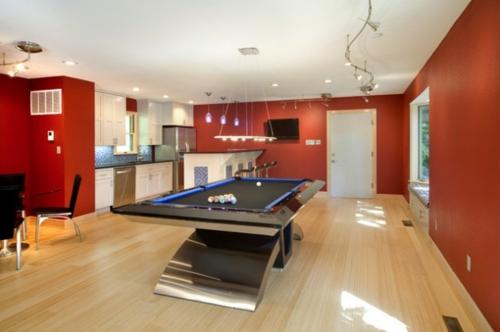 Designer Spielraum mit Billard spieltisch beleuchtung gemütlich ambiente
