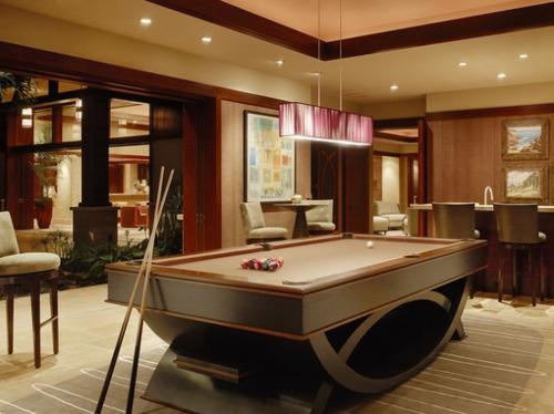 30 trendy ideen f r designer spielraum mit billard for Small game table in living room