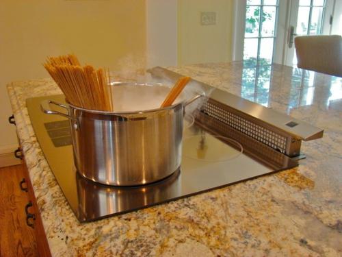 Dunstabzugshaube für die Küche kochplatte topf metall