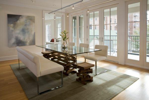 Einmaliges Esszimmer mit neuen Stühlen couch leder gepolstert glastischplatte