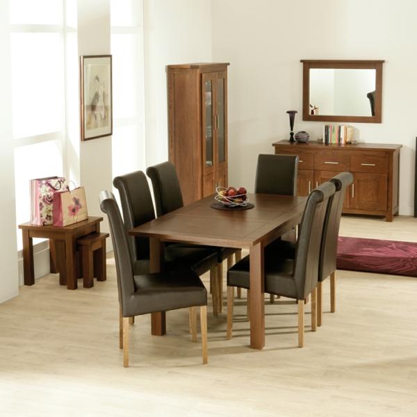 Einmaliges Esszimmer mit neuen Stühlen schwarz leder hoch rücklehne