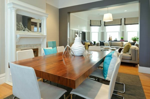 Einmaliges Esszimmer mit neuen Stühlen weiß leder gepolstert