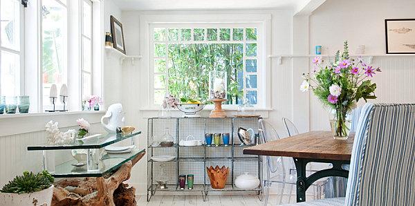 Eklektisches Interior Design weiß einrichtung küche glasplatten regale