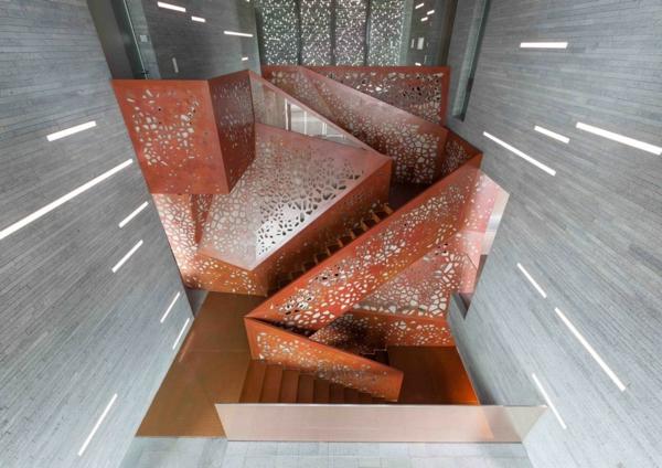kupfer treppe gelöchert beleuchtung glasfasern stufen