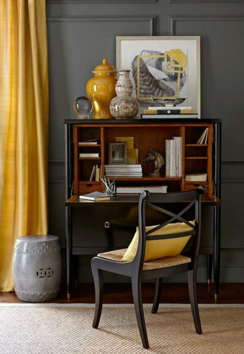 Gemütliches Wohnzimmer einrichten gelb gardinen vase keramisch regal
