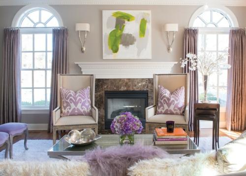 Gemütliches Wohnzimmer einrichten klassisch vintage einrichtung einbaukamin