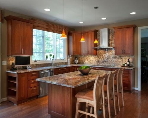 Granitplatten in hervorragenden Küchen warm ambiente einladend