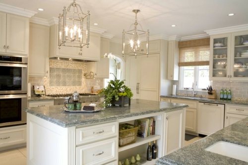 White Kitchen Cabinets With Seafoam Green Painted Walls