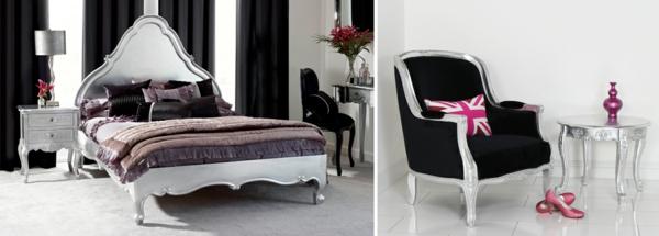 Interior Design im französischen Stil doppelbett kopfteil hoch sessel nebentisch