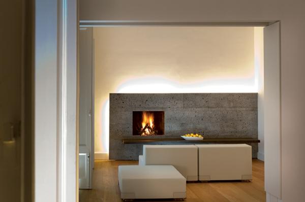 Klassische Architektur und modernes Hotel Design beleuchtung einbaukamin