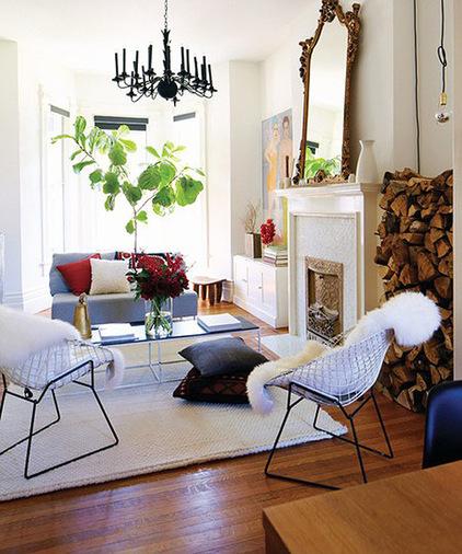 Kombination von Interieur Stilen gemütlich einbaukamin wohnbereich brennholz