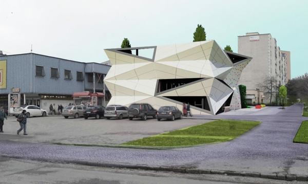 Kulturzentrum und Sportzentrum baustruktur weiß fassade eckig