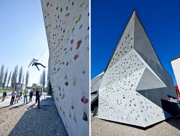 Kulturzentrum Sportzentrum fassade kletterwand