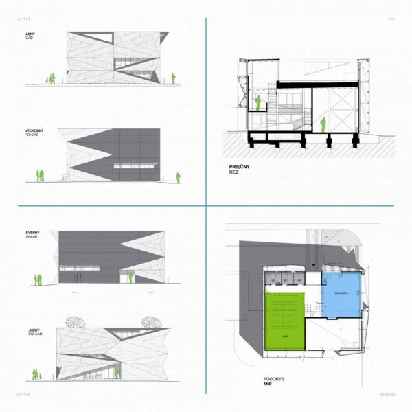 Kulturzentrum und Sportzentrum zeichnungen entwurf