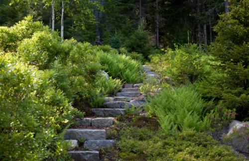 Landschaftsarchitektur und Design mit nachhaltig gewonnenem Holz stufen stein