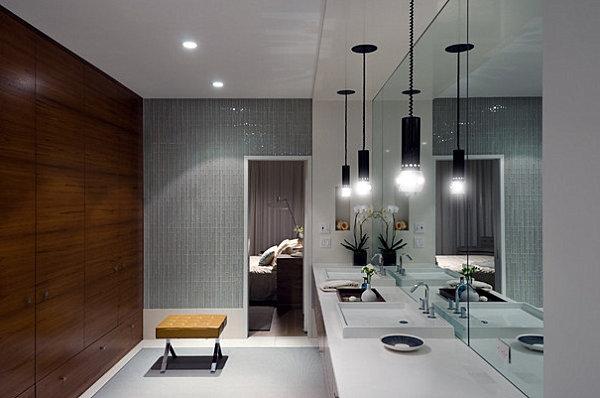 Luxus Badezimmer Ideen badfliesen bang wandverkleidung hängelampe
