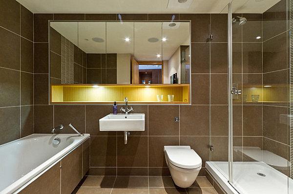 badezimmer braun Luxus Badezimmer Designs badfliesen braun golden weiß details