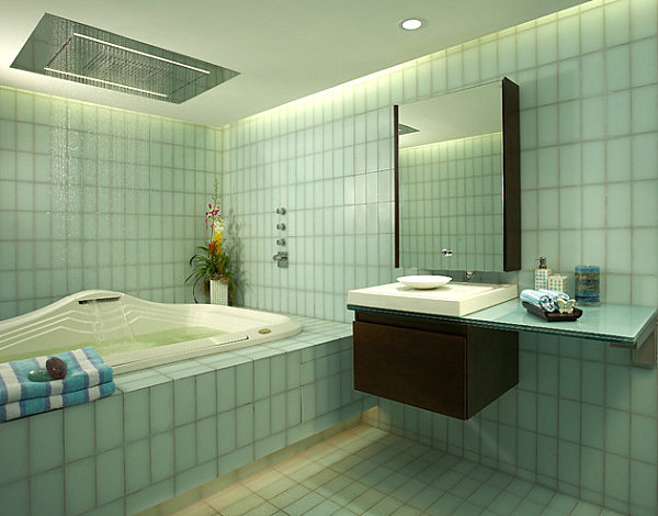 Luxus Badezimmer Ideen badfliesen grün minimalistisch