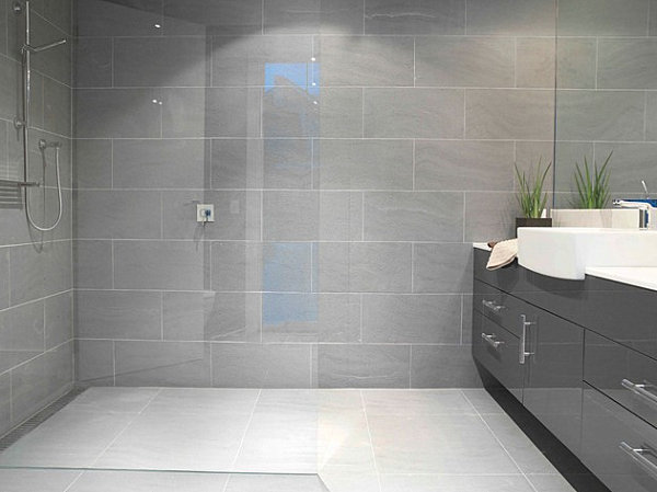 Luxus Badezimmer Modern Braun : White and Grey Bathroom Shower Tile ...