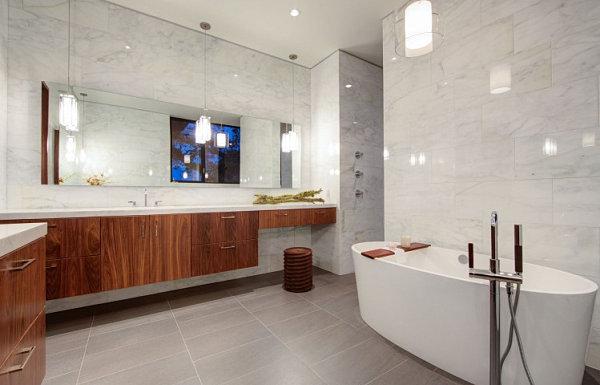 Luxus Badezimmer  großartig holz oberflächen marmor fliesen