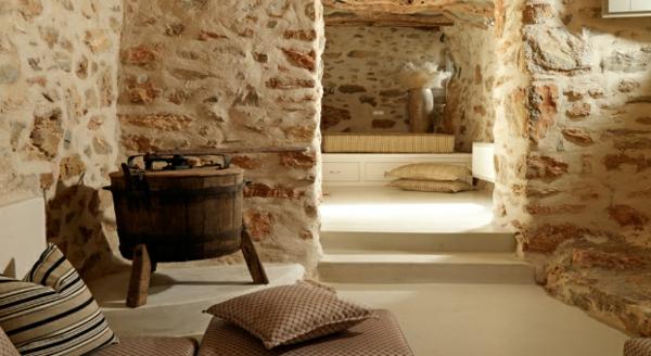 Luxus Designer Wohnungen rustikal kissen streifen sitzbank auflagen
