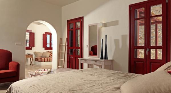 Luxus Designer Wohnungen schlafzimmer rot rahmen tür sessel