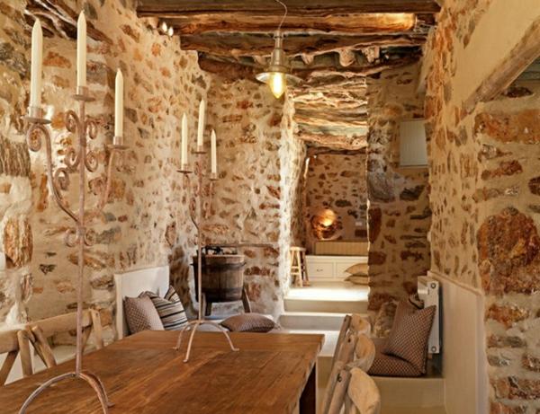 Luxus Designer Wohnungen stein wände kerzenhalter klassisch holztisch