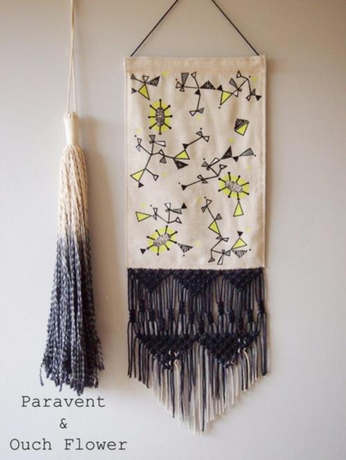 Makramee Dekoration kunstwerk idee hängend wand