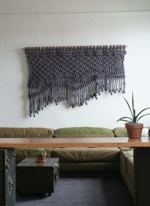 Makramee Dekoration sofa tisch holz grau hängend